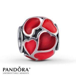 Pandora Red Hot Love Charm      Enamel Hearts